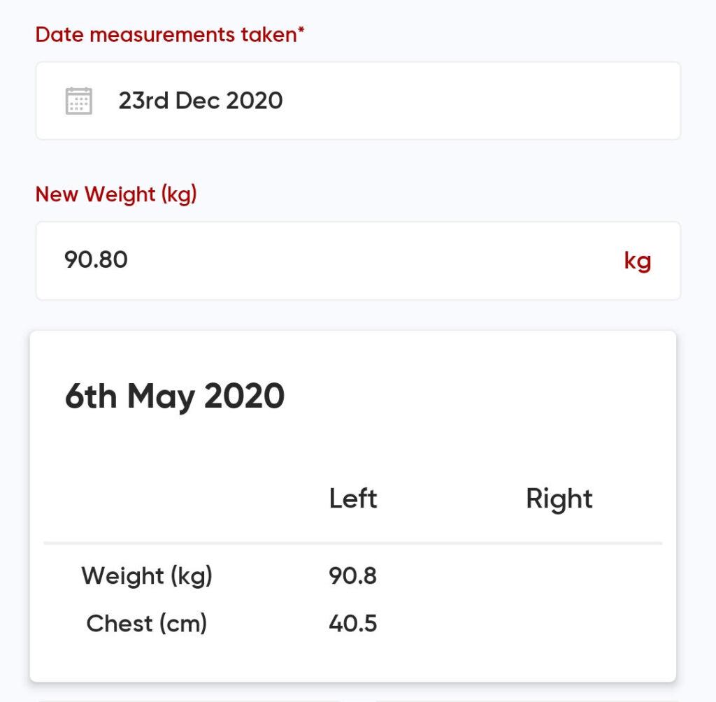 Online Personal Training measurements