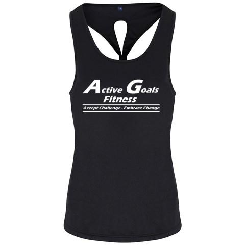 TR042 Ladies Black vest top