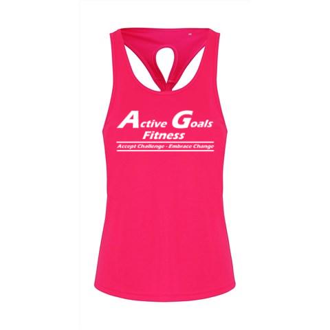 TR042 Ladies Hot pink vest top